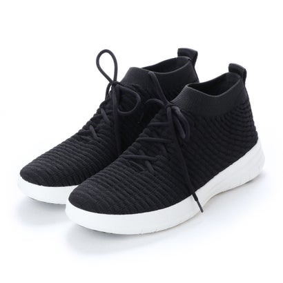 フィットフロップ FitFlop UBERKNIT SLIP-ON HIGH TOP SNEAKER in WAFFLE KNIT (Black)