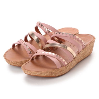 フィットフロップ fitflop LINNY SLIDE SANDALS - ZIGZAG MIRROR (Dusky Pink/Rose Gold Mirror)