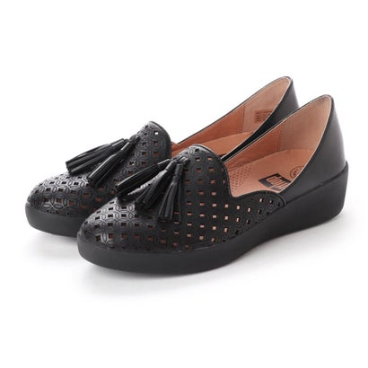 フィットフロップ fitflop TASSEL SUPERSKATE D'ORSAY LOAFERS-LATTICED LEATHER (Black)