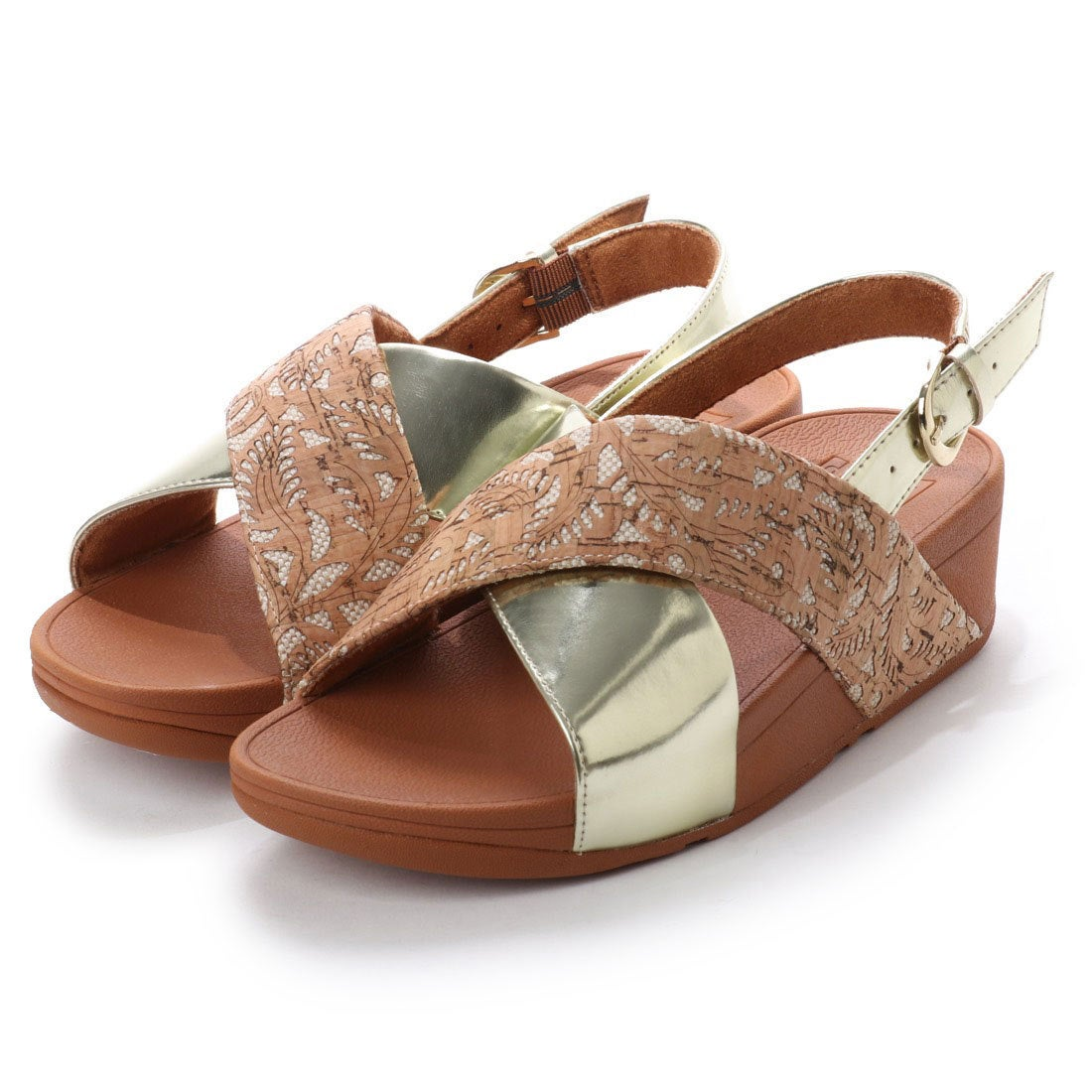 d7abb3c83cfa fitflop フィットフロップ FitFlop LULU CROSS BACK-STRAP SANDALS - MIRROR   CORK (Cork Gold  Mirror) -アウトレット通販 ロコレット (LOCOLET)