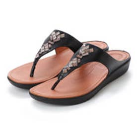 フィットフロップ fitflop BANDA LEATHER TOE-THONG SANDALS - CRYSTAL (Black)