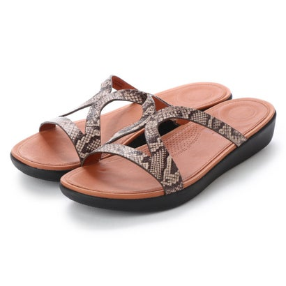 フィットフロップ fitflop STRATA SLIDE SANDALS - SNAKE EFFECT LEATHER (Taupe Snake)