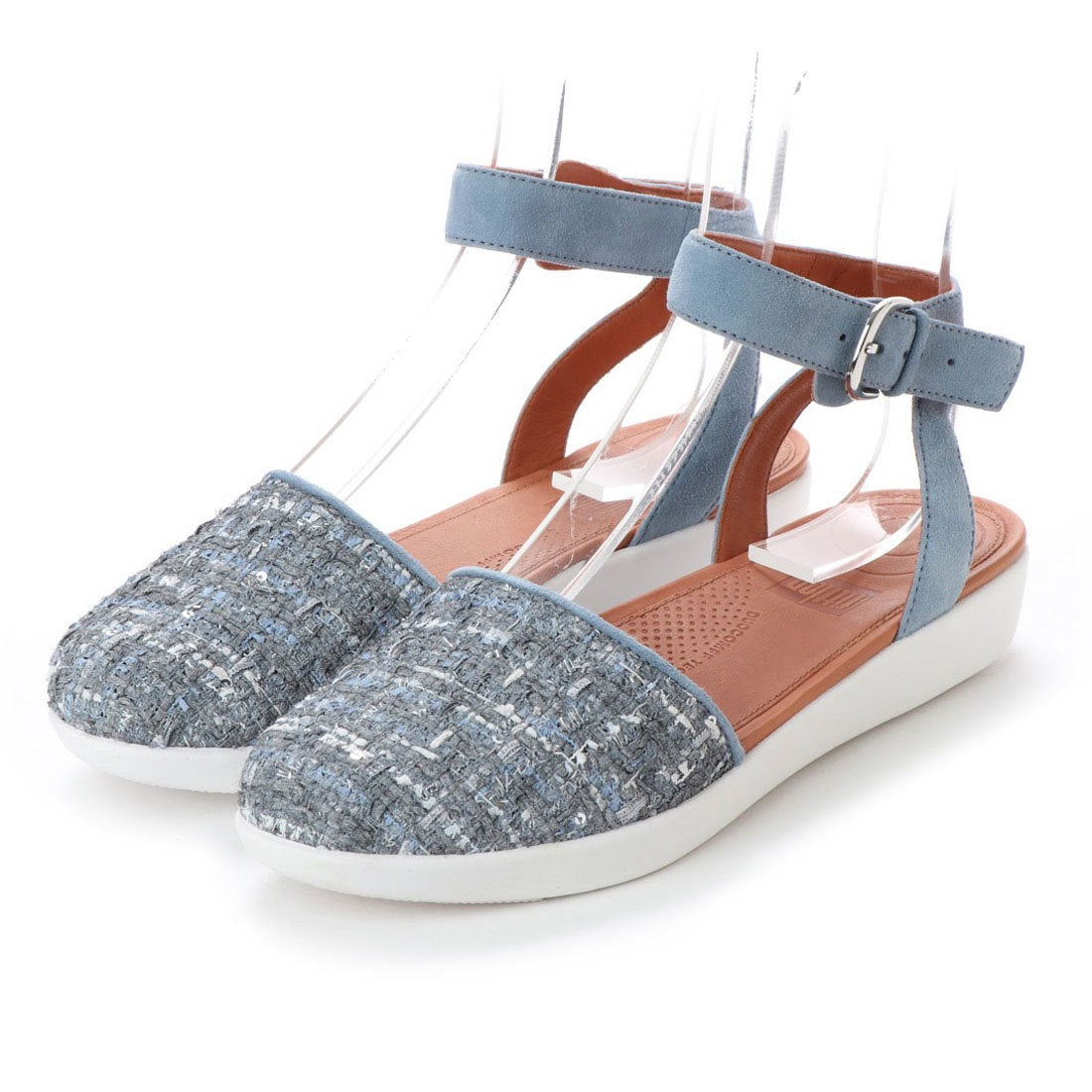 5b776169918145 fitflop フィットフロップ FitFlop COVA CLOSED-TOE SANDALS - LUXE-TWEED (Dove Blue)  -アウトレット通販 ロコレット (LOCOLET)