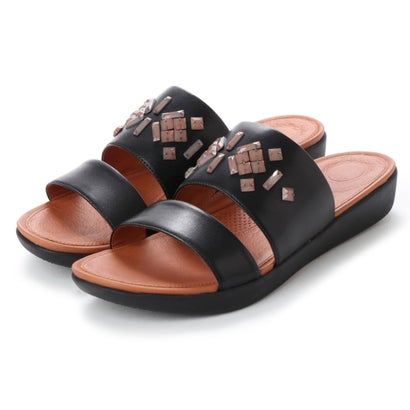 フィットフロップ fitflop DELTA LEATHER SLIDE SANDALS - CRYSTAL (Black)