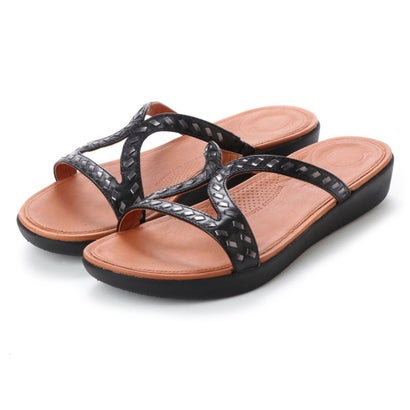 フィットフロップ fitflop STRATA SLIDE SANDALS - WHIPSTITCH LEATHER (Black)