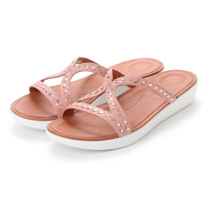フィットフロップ fitflop STRATA SLIDE SANDALS - WHIPSTITCH LEATHER (Dusky Pink)