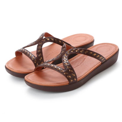 フィットフロップ fitflop STRATA SLIDE SANDALS - WHIPSTITCH LEATHER (Espresso)