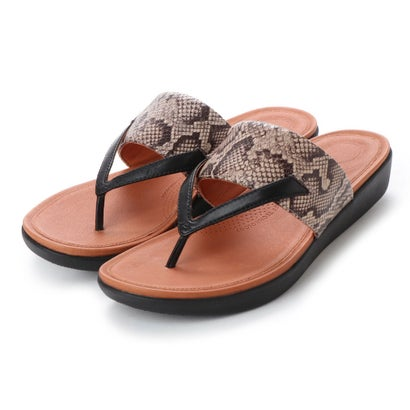 フィットフロップ fitflop DELTA TOE-THONG SANDALS - LEATHER / SNAKE-PRINT (Taupe Snake/Black)