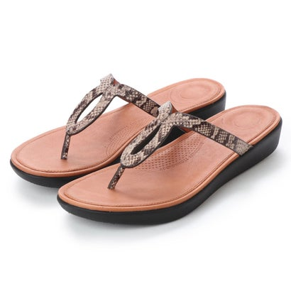 フィットフロップ fitflop STRATA TOE-THONG SANDALS - SNAKE EFFECT LEATHER (Taupe Snake)