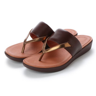 フィットフロップ fitflop DELTA TOE-THONG SANDALS - LEATHER / MIRROR (Espresso/Bronze Mirror)