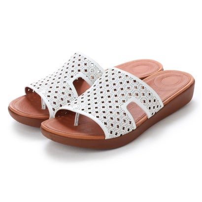 フィットフロップ fitflop H-BAR SLIDE SANDALS - LATTICED LEATHER (Urban White)