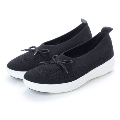 フィットフロップ FitFlop UBERKNIT SLIP-ON BALLERINA WITH BOW (Black)
