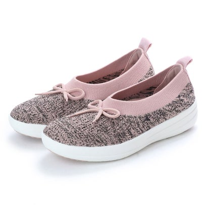 フィットフロップ FitFlop UBERKNIT SLIP ON BALLERINA WITH BOW (Black/Nude Metallic)