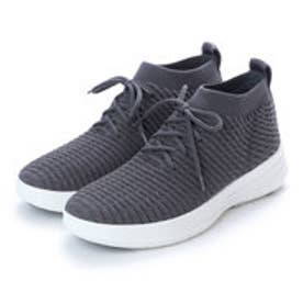 フィットフロップ FitFlop UBERKNIT SLIP-ON HIGH TOP SNEAKER in WAFFLE KNIT (Charcoal)