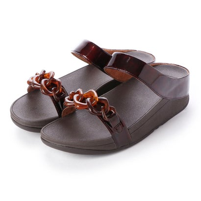 フィットフロップ fitflop FINO TORTOISESHELL CHAIN SLIDE (Chocolate Brown Turtle)