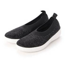 フィットフロップ fitflop UBERKNIT BALLERINA - CRYSTAL (Black/Soft Grey)