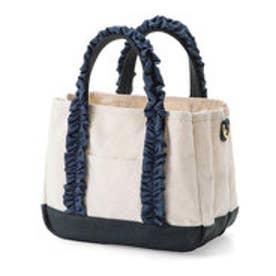 フェリシモサーカス FelissimoCircus 華カジュアルが私らしい 軽心地で仕分け上手な 帆布トートバッグ (ネイビー)