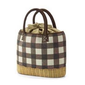 フェリシモサーカス FelissimoCircus やわらか軽量素材のラタン風買い出しバッグ (ブロックチェック)