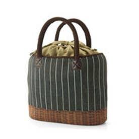 フェリシモサーカス FelissimoCircus やわらか軽量素材のラタン風買い出しバッグ (ピンストライプ)