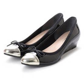 フェリシモサーカス FelissimoCircus 働く女性の欲しいをかなえた 脚長効果抜群のスーツにもはけちゃう通勤バレエシューズ (ブラック×シャンパンゴールド)