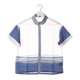 フェリシモサーカス FelissimoCircus オリジナルモノグラムの切り替えシャツ (ホワイト)