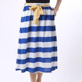 フェリシモサーカス FelissimoCircus グログランリボンのボーダースカート (ブルー)