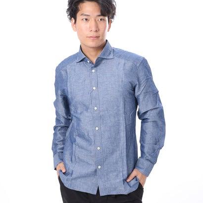 ファイン FINE 麻混合ワイドカラーシャツ (ブルー)