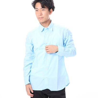 ファイン FINE 無地カラーコットンシャツ (サックス)