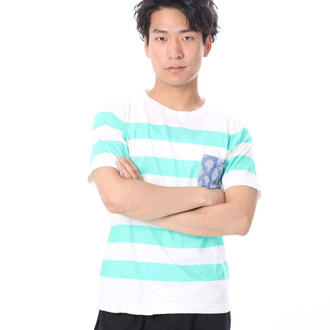 ロコンド 靴とファッションの通販サイトファイン FINE 天竺ボーダーポケット付Tシャツ (グリーン)