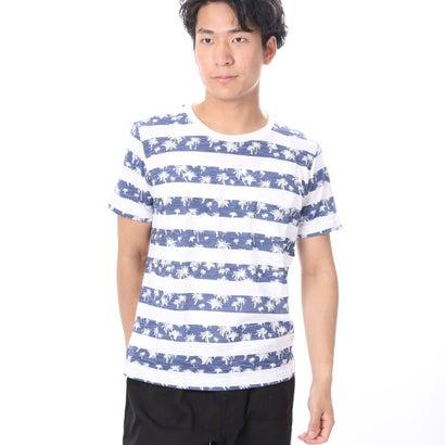 ファイン FINE 南国風ポケ付スラブボーダーTシャツ (ネイビー)