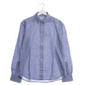 ファイン FINE 麻使用カジュアルシャツ (ブルー)