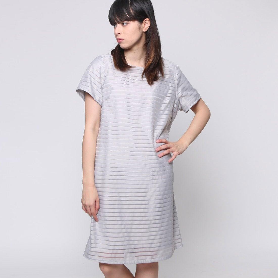 054ab180398b7 FINE (Rename) ファイン FINE 透かしボーダワンピース (グレー)-Rename.jp - 服の新しい売り方