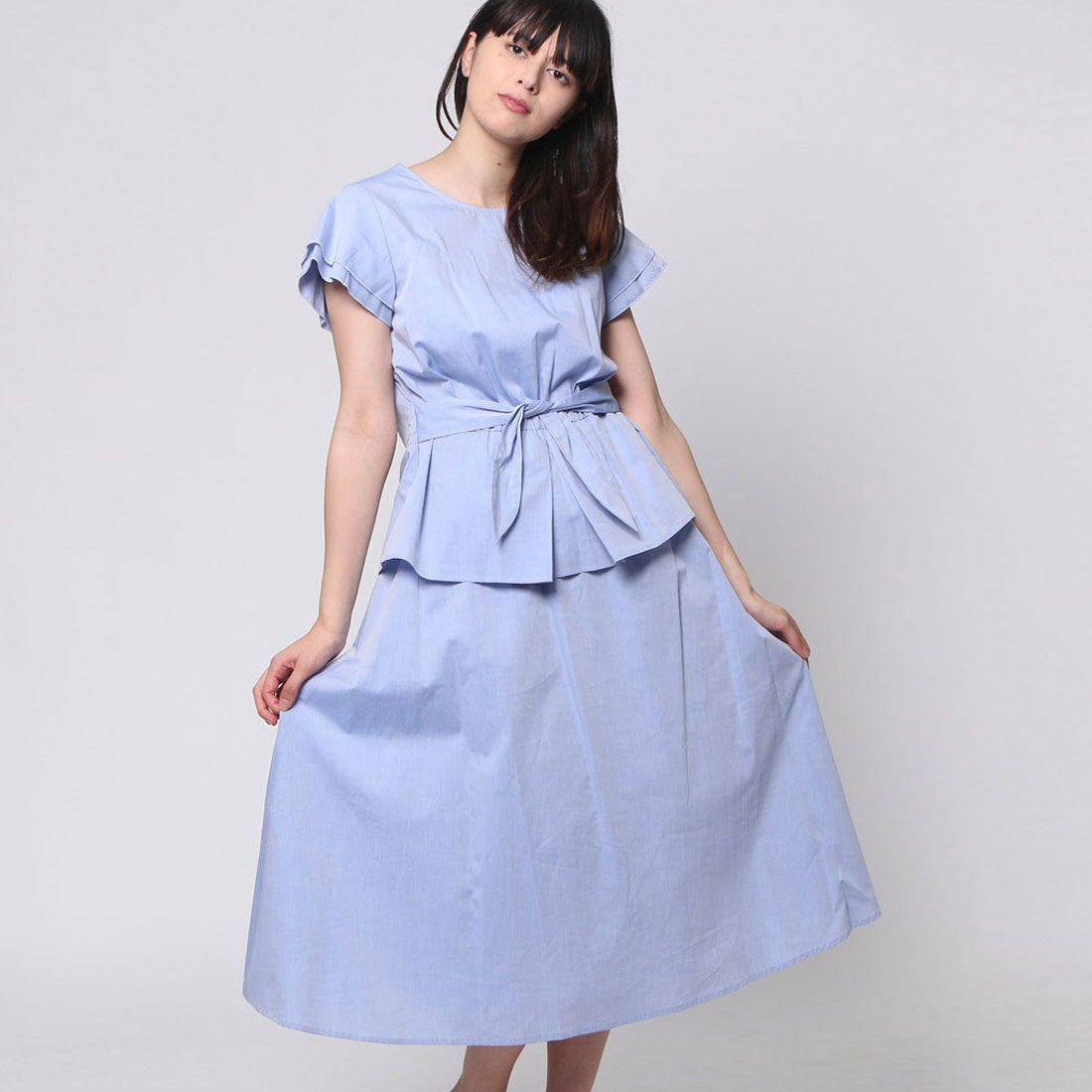 29c59fa935601 FINE (Rename) ファイン FINE ウエストリボンセットアップワンピース (サックス)-Rename.jp - 服の新しい売り方