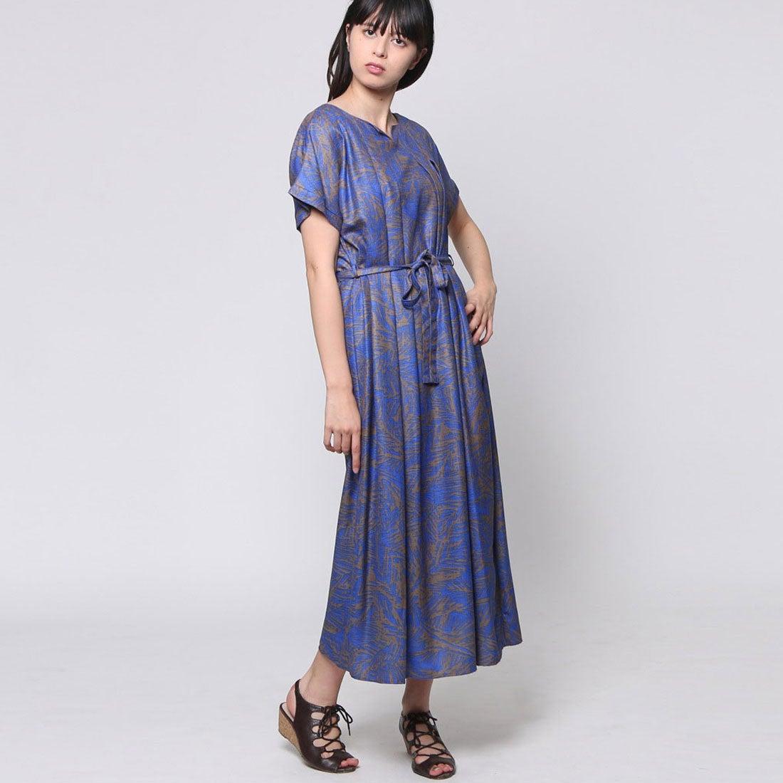 fd38b4a33a0a9 FINE (Rename) ファイン FINE ボタニカル柄ロングワンピース (ブルー×ブラウン系)-Rename.jp - 服の新しい売り方