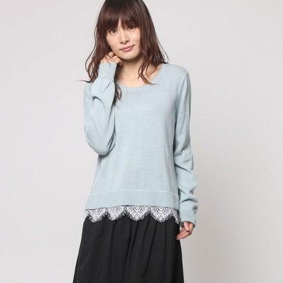 ファイン FINE 裾レースラウンドネックセーター (ブルーグリーン)