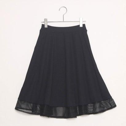 ファイン FINE 裾レース切り替えフレアスカート (ブラック)