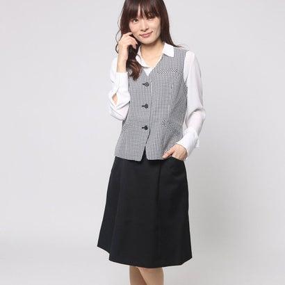 ファイン FINE グレンチェックベスト+フレアスカートスーツ (ブラック)