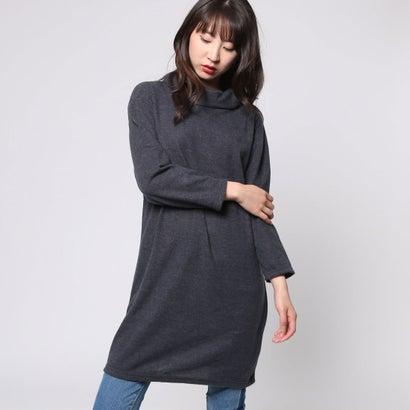 ファイン FINE 起毛ロール襟チュニック (ブラック杢)