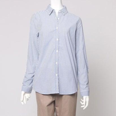 ファイン FINE 襟 ビジューストライプシャツ (ブルー系ストライプ)