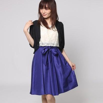 ファイン FINE シャンタン生地レースボレロワンピースドレス (ベージュ×ブルー+ブラック)