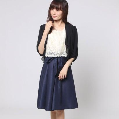 ファイン FINE シャンタン生地レースボレロワンピースドレス (ベージュ×ネイビー×ブラック)