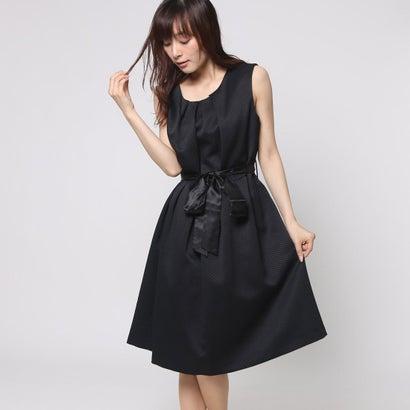7567715fb58f1 ファイン FINE ドビー織フロントリボンワンピースドレス (ブラック)