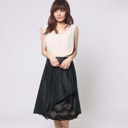 ファイン FINE 裾チュールフレアワンピースドレス (ベージュ×ブラック)