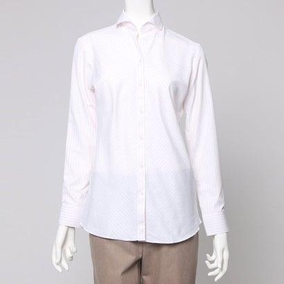 ファイン FINE ワイド襟ストライプシャツ (ピンク)