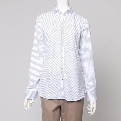 ファイン FINE ワイド襟ストライプシャツ (ブルー)
