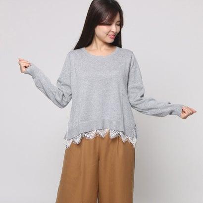 ファイン FINE 裾レース使いセーター (グレーモク)