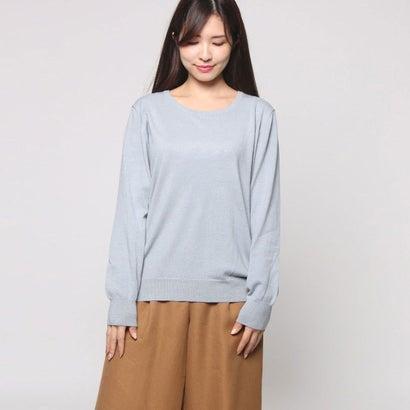 ファイン FINE 綿混合クルーネックセーター (スモーキーサックス)