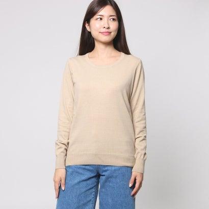 ファイン FINE 綿混合クルーネックセーター (ベージュ)
