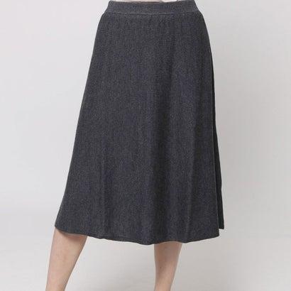 ファイン FINE ウール入りニットAラインスカート (グレー)