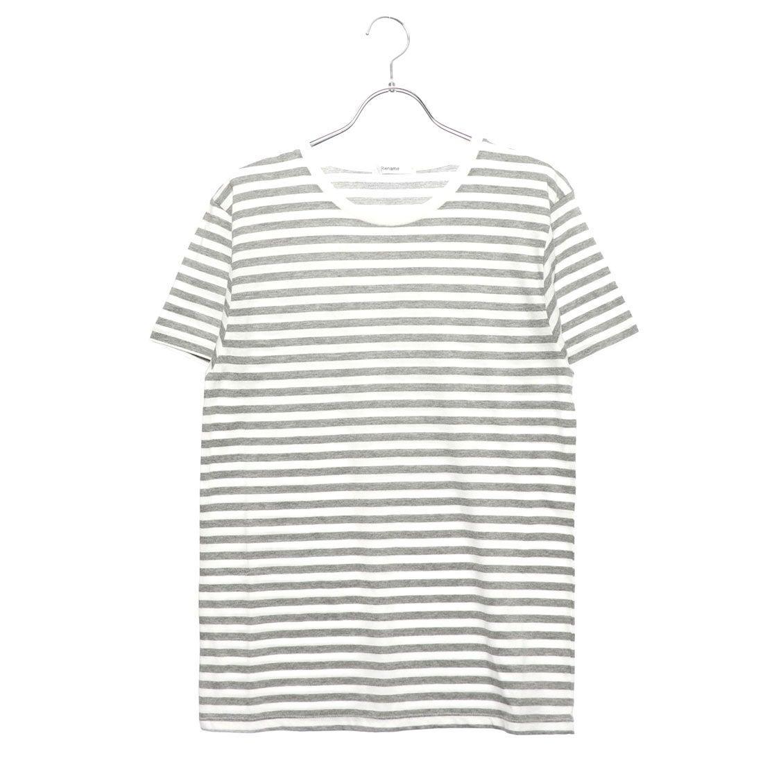 ロコンド 靴とファッションの通販サイトリネーム Rename クルーネックボーダーTシャツ (グレーxホワイト)